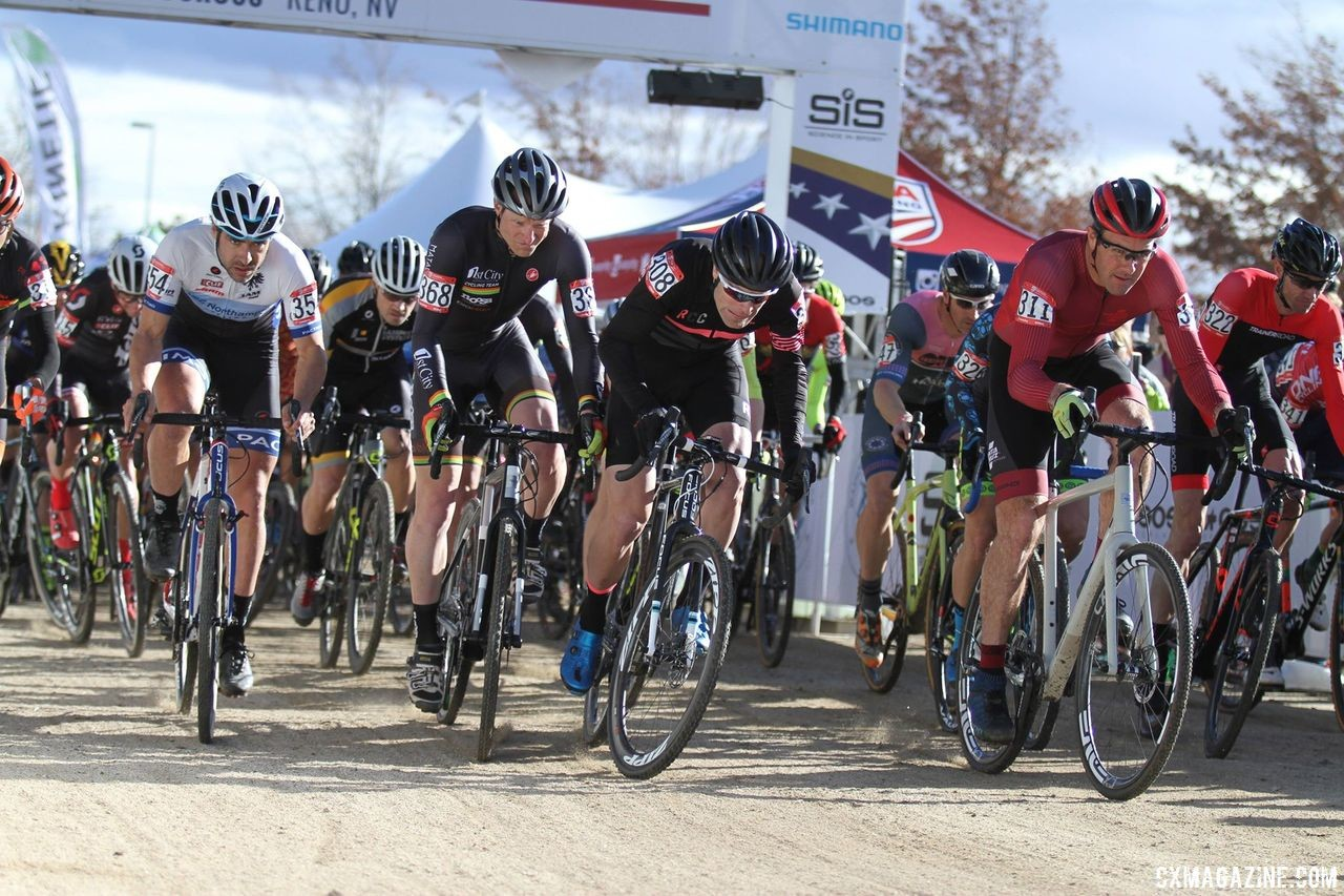 Thomas (far right) earned a front-row call-up for the Masters 40-44 race with his efforts. 2018 Reno Cyclocross Nationals. © D. Mable / Cyclocross Magazine