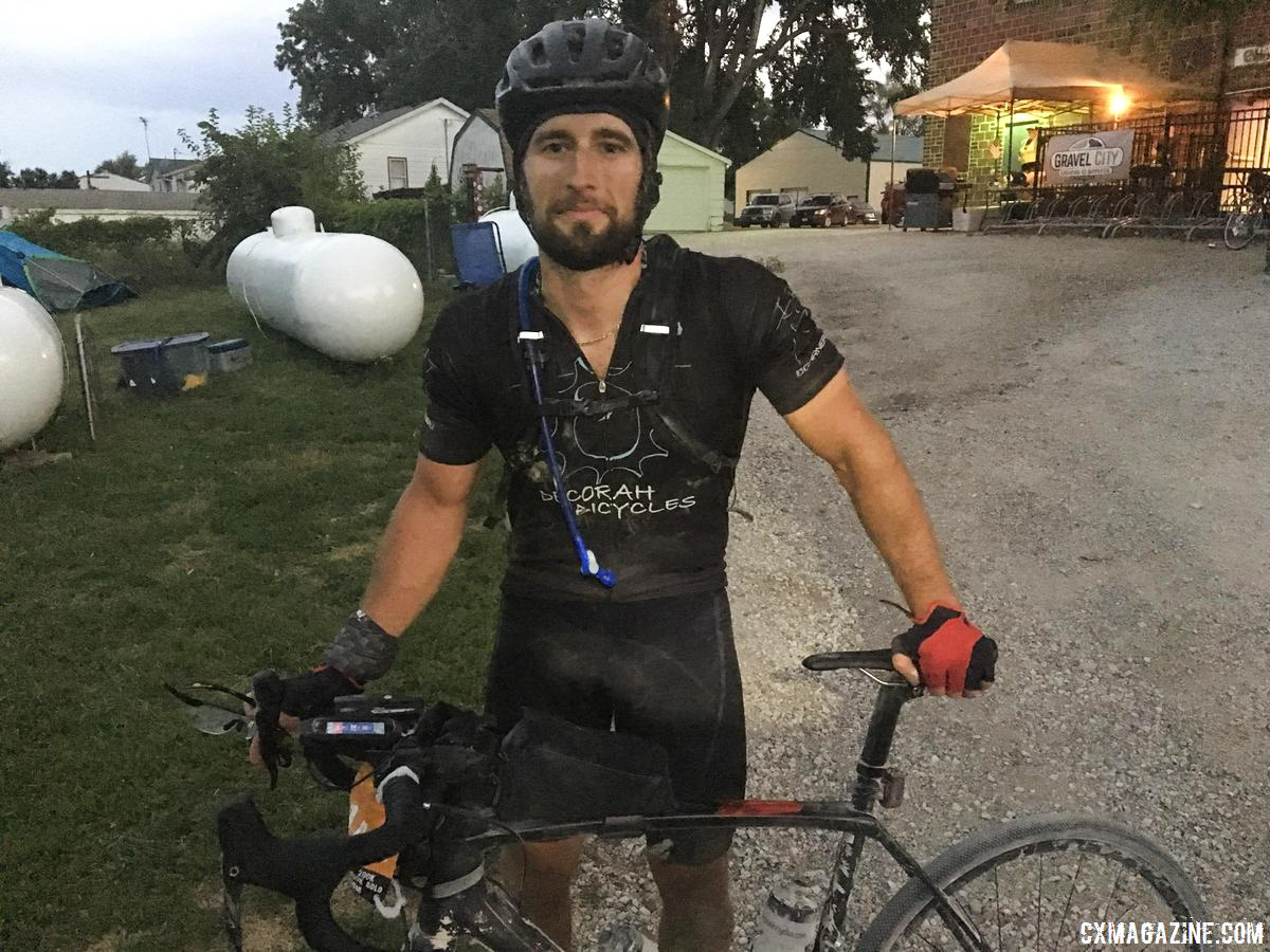 400K winner Lucas Barloon at 6 a.m. after his win. 24 Hours of Cumming Gravel Race. © D. Mable / Cyclocross Magazine
