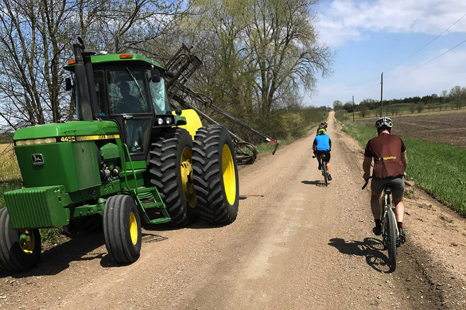 There are only nine rules for Gravel Worlds riders. Number 10 might be: Don't get hit by tractors. photo: Pirate Cycling League