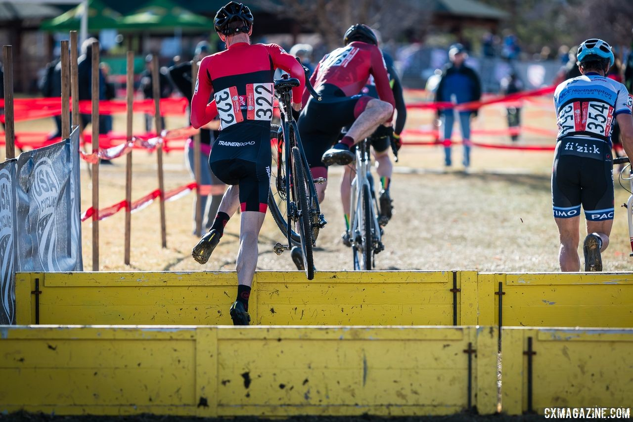 Justin Thomas joined Justin Robinson in the Masters 40-44 chase group. 2018 Reno Cyclocross Nationals. © J. Vander Stucken / Cyclocross Magazine