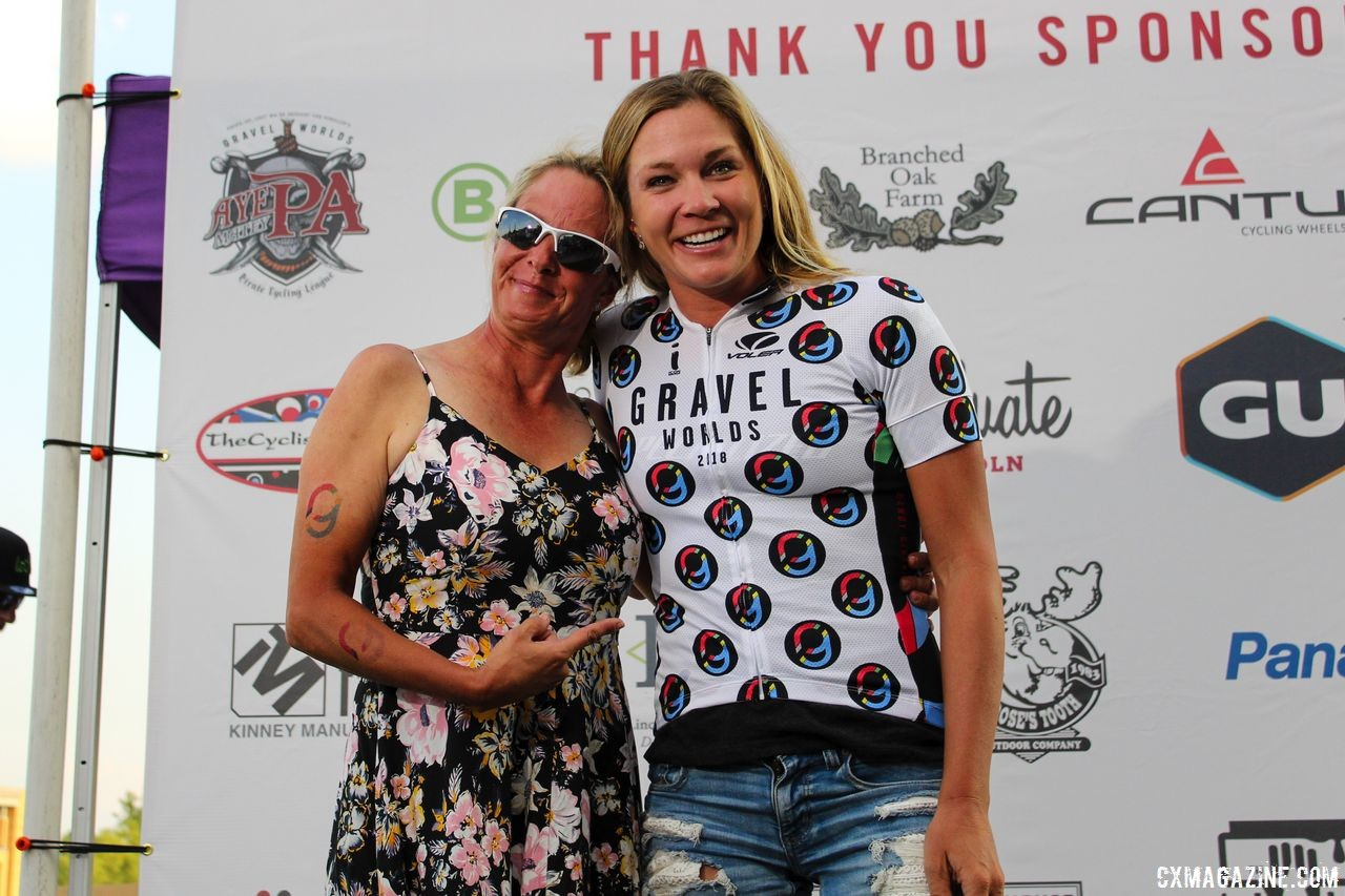 Alison Tetrick won the Randy Gibson QOM jersey presented by his wife. 2018 Gravel Worlds © Z. Schuster / Cyclocross Magazine