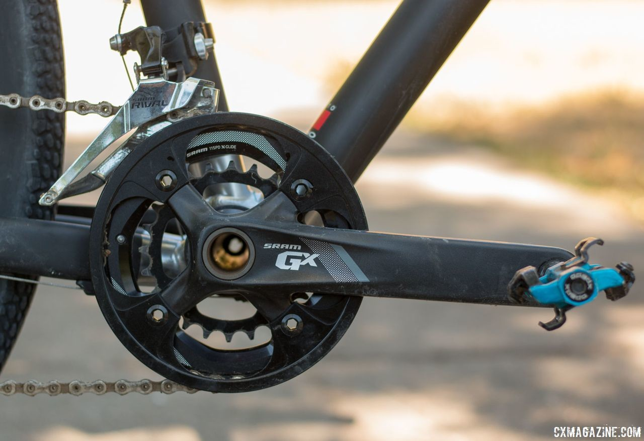 The SRAM GX crankset has 36/24t chain rings to help with extreme terrain. Alan Xtreme Gravel Scandium with Kilo fork and Alchemist wheels. © Cyclocross Magazine