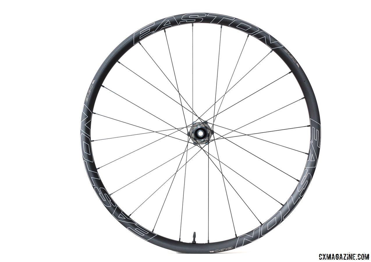 Easton offers its EA90 SL Disc wheelset with quick release and 12 and 15mm front thru-axles. Easton EA90 SL alloy tubeless disc wheels. © Cyclocross Magazine