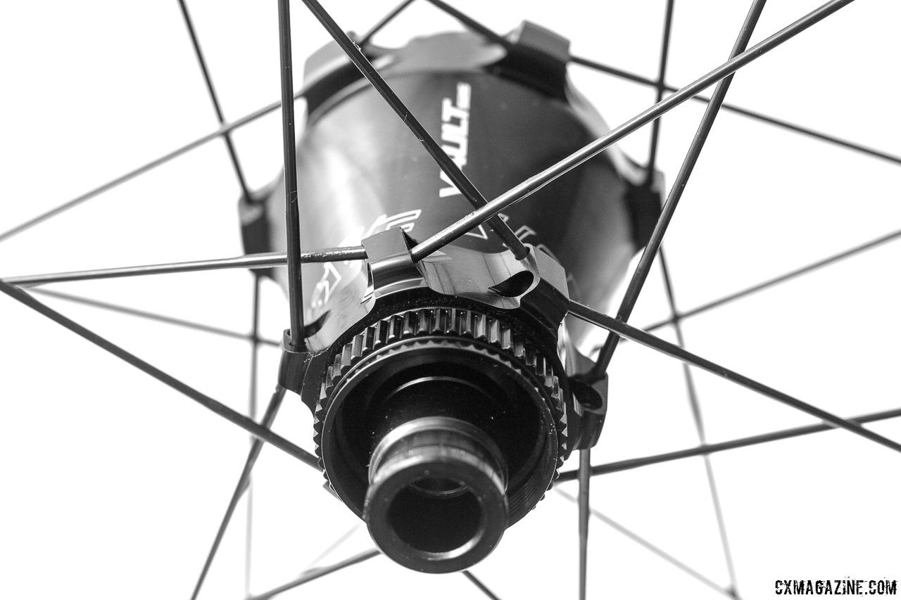 Easton's new Vault hub is CenterLock disc, which makes for easier rotor swaps. Easton EA90 SL alloy tubeless disc wheels. © Cyclocross Magazine
