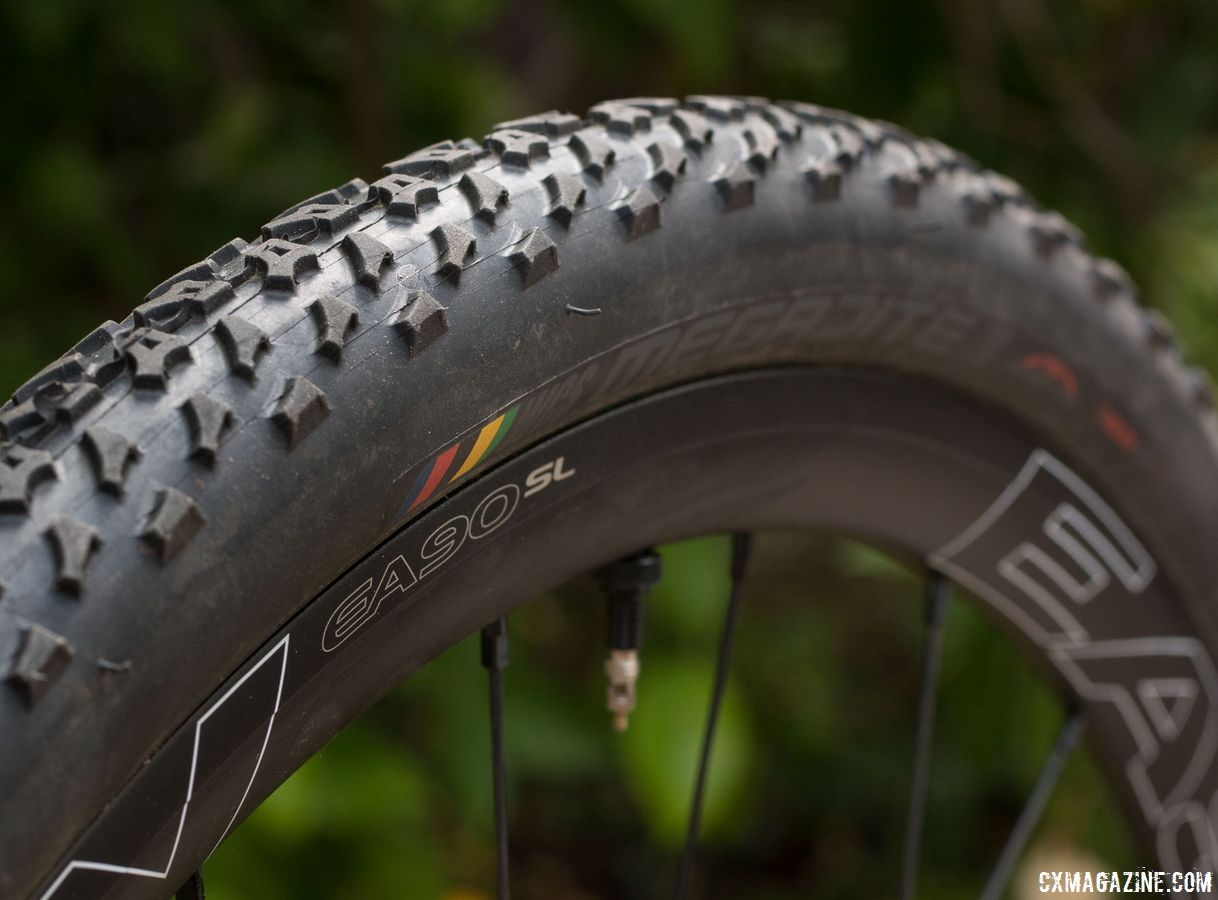 Ritchey WCS Megabite tubeless cyclocross clinchers slid on easily, and seated quietly and have remained air tight so far. Easton EA90 SL alloy tubeless disc wheels. © Cyclocross Magazine