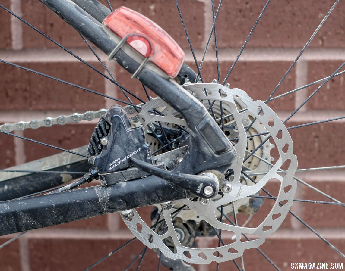 The rear brakes on Giant's new gravel bike are flat mount disc. The Revolt Advanced 0 comes with Ultegra calipers. Josh Berry's 2018 Gravel Worlds Giant Revolt Advanced 0 Gravel Bike. © Z. Schuster / Cyclocross Magazine