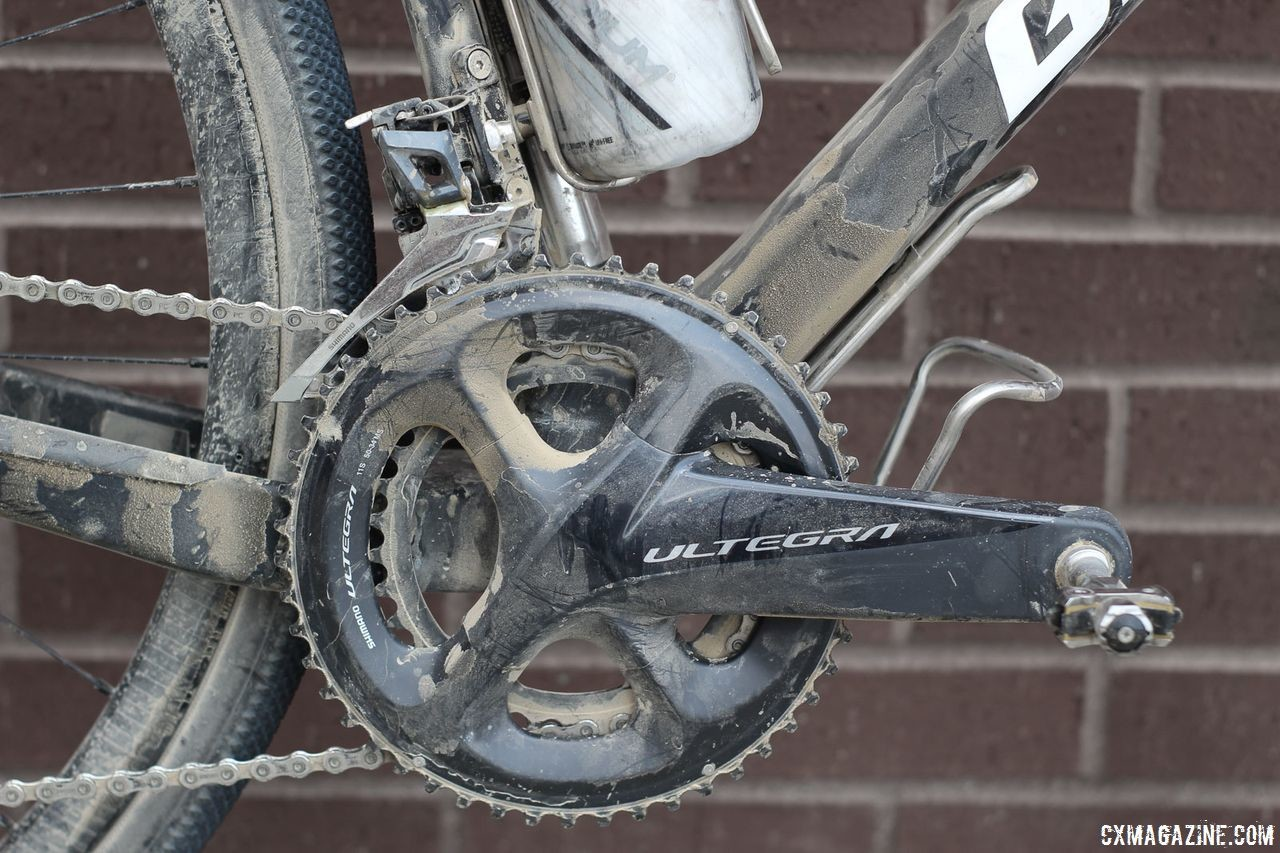 Berry ran a Shimano Ultegra crankset with 50/34t compact chain rings. Josh Berry's 2018 Gravel Worlds Giant Revolt Advanced 0 Gravel Bike. © Z. Schuster / Cyclocross Magazine