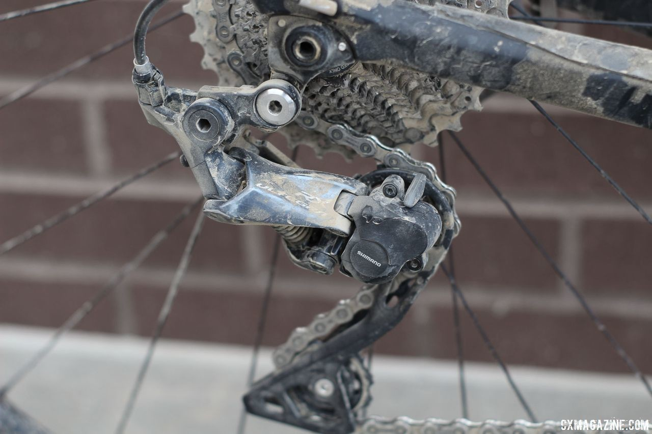 The Revolt Advanced 0 model comes wtih the new Shimano Ultegra RX rear derailleur as a stock option. Josh Berry's 2018 Gravel Worlds Giant Revolt Advanced 0 Gravel Bike. © Z. Schuster / Cyclocross Magazine