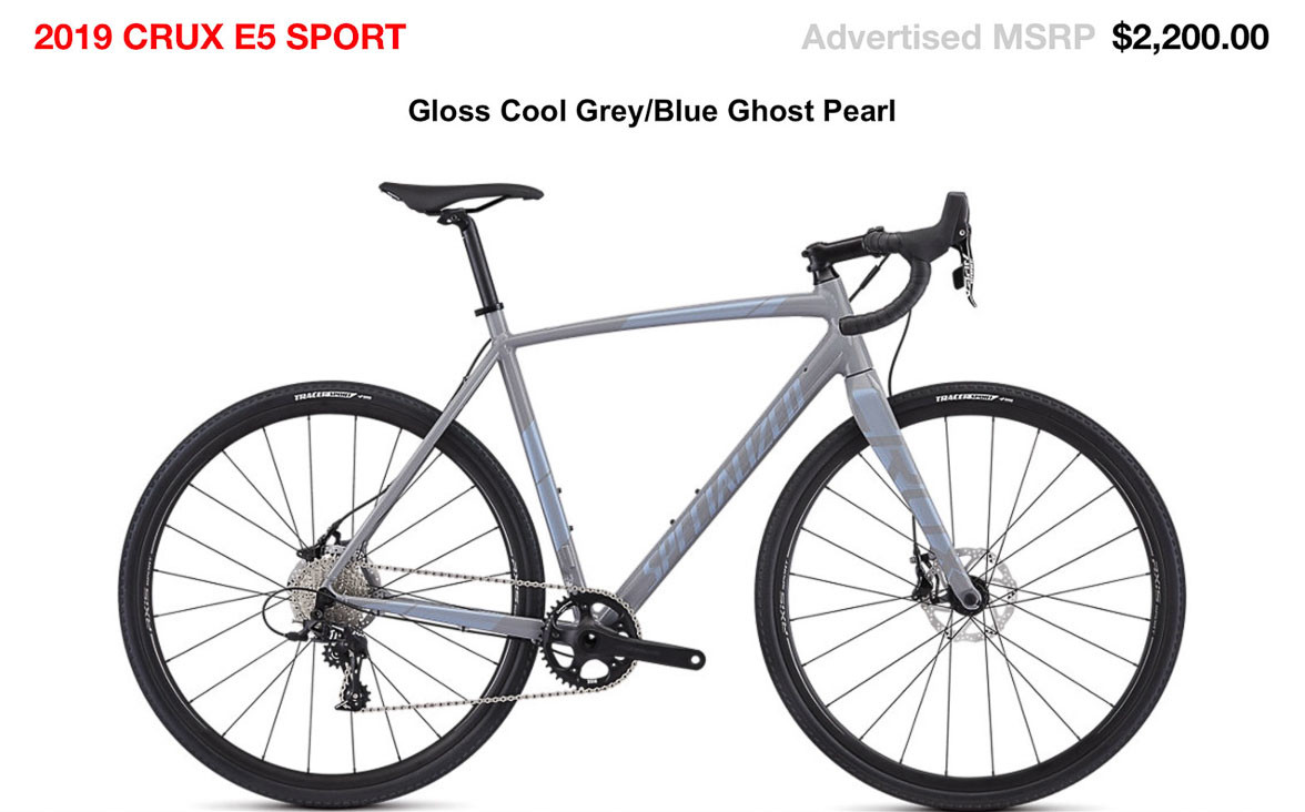 2019 $2200 alloy Specialized CruX E5 Sport cyclocross bike.