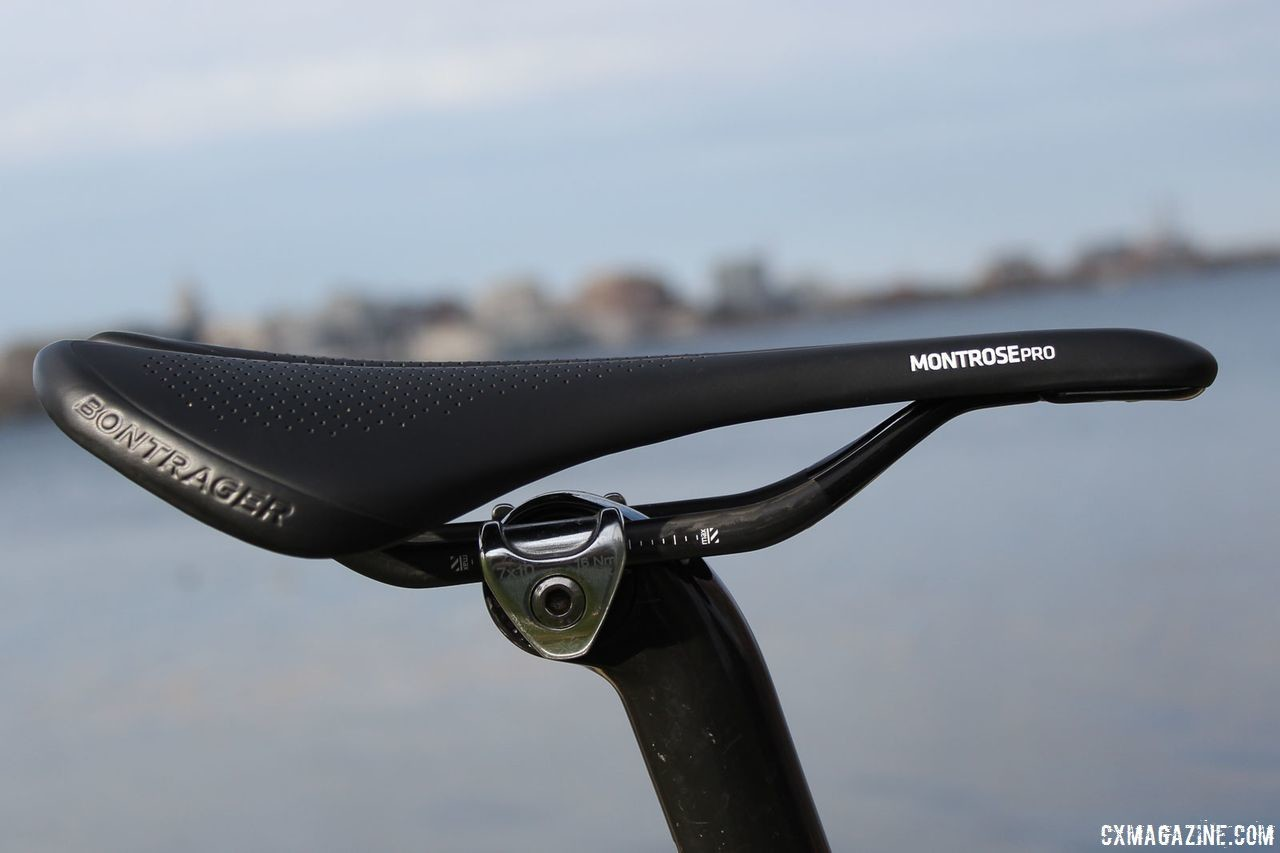 Trek provide a Montrose Pro saddle with titanium rails on our bike. As always, we would like to see a two-bolt design on the seat mast. Trek Boone RSL Cyclocross Frameset and Bike. © Z. Schuster / Cyclocross Magazine