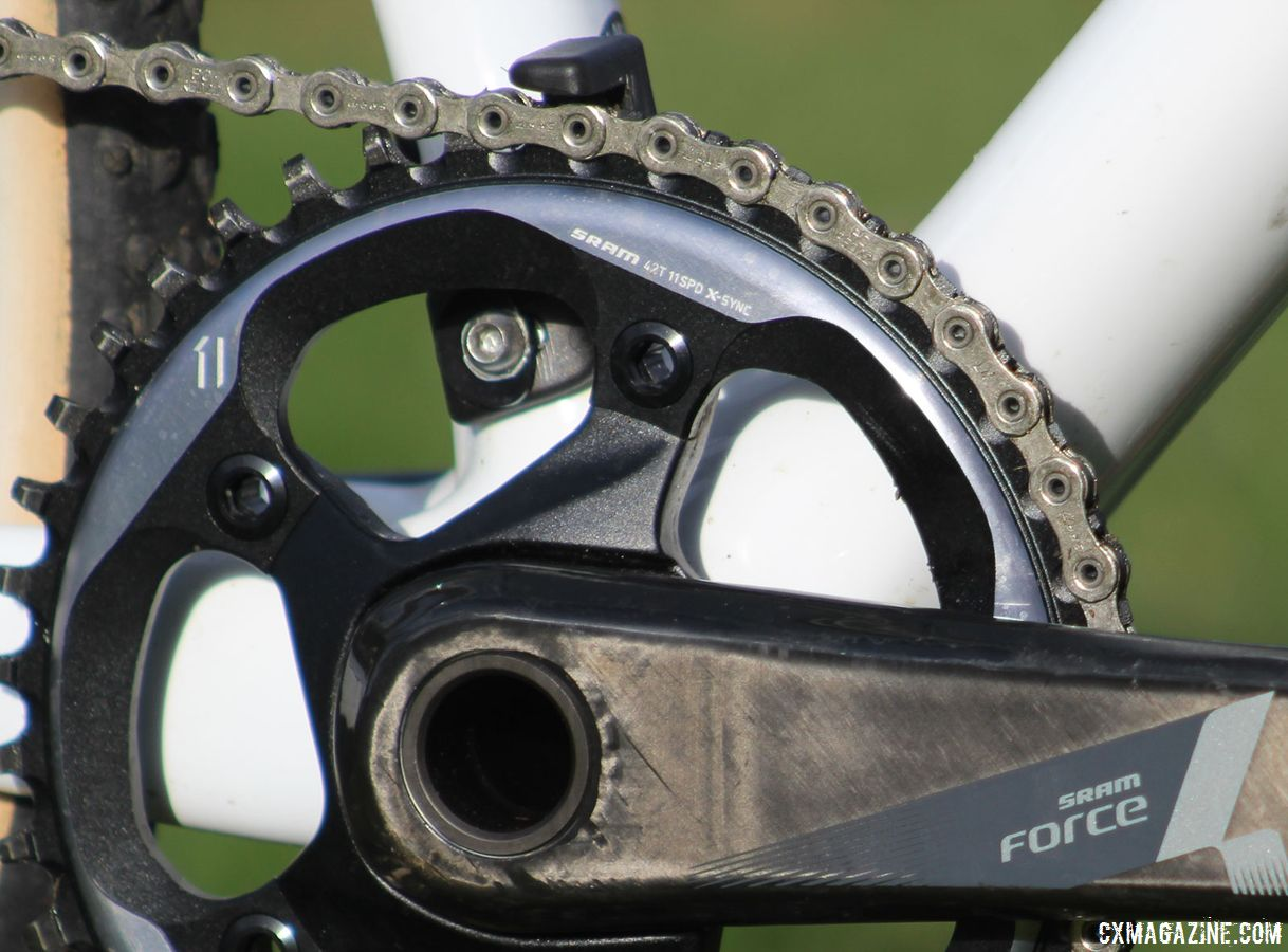 The Boone RSL frame is designed for 1x cranksets, and accordingly, our test bike has a Force 1 crank with a 42t chain ring. Trek Boone RSL Cyclocross Frameset and Bike. © Z. Schuster / Cyclocross Magazine