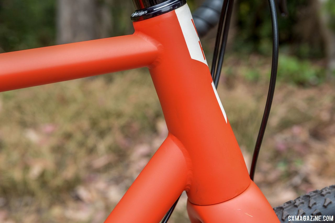 The Steel ACX is handbuilt in small batches. The clean TIG welds are shown here. Von Hof Steel ACX Cyclocross Bike. © C. Lee / Cyclocross Magazine