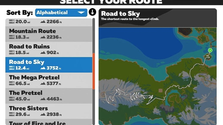 The Road to Sky route takes you straight to the vaunted Alpe du Zwift climb.