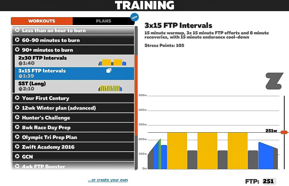 If you want, you can do interval workouts in Zwift.