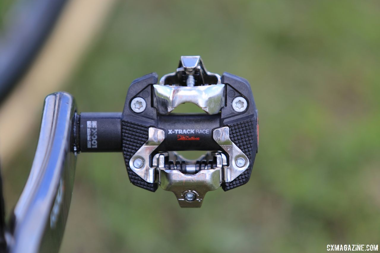 Van Aert was able to source Look pedals in the United States. The new X-Track pedals are SPD compatible. Wout Van Aert's Stevens Super Prestige Cyclocross Bike, Waterloo World Cup 2018 © D. Mable / Cyclocross Magazine