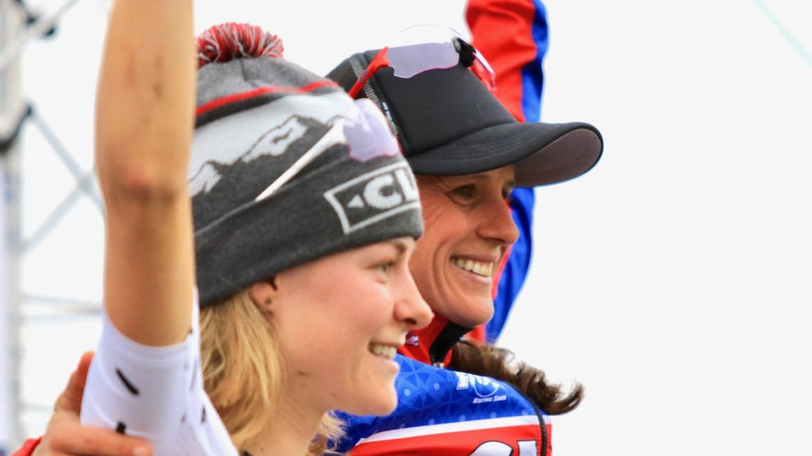 Katerina Nash and Maghalie Rochette raced against each other and shared the podium on Sunday. 2018 Jingle Cross Day 3, Sunday. © D. Mable / Cyclocross Magazine