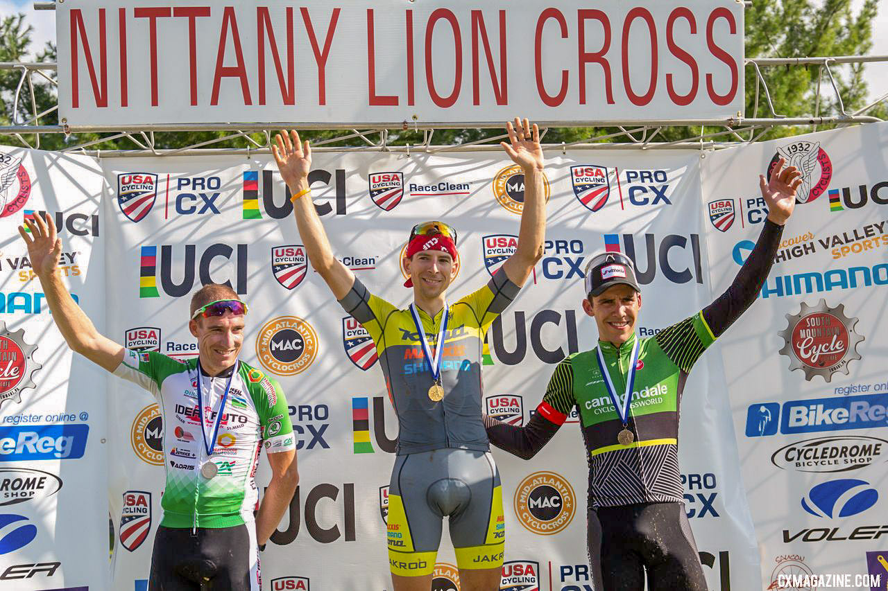 Matthieu Boulo, Kerry Werner, Curtis White. 2018 Nittany Lions Cyclocross Day 1. © Bruce Buckley