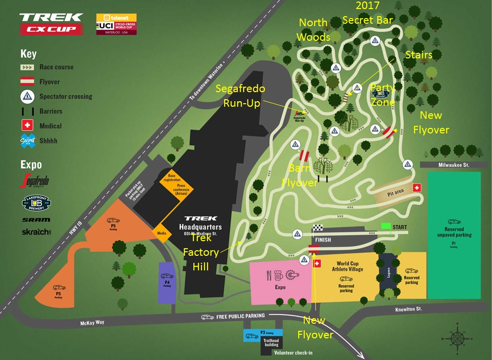 Annotated 2018 World Cup Waterloo course map. photo: Trek Bicycle
