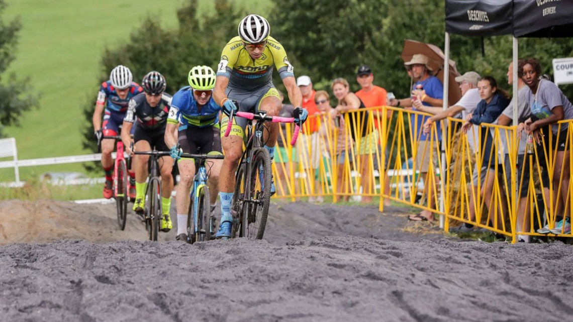 Werner leads the pack through the sand. 2018 Go Cross, Day 1, UCI C2 Cyclocross. photo: Bruce Buckley
