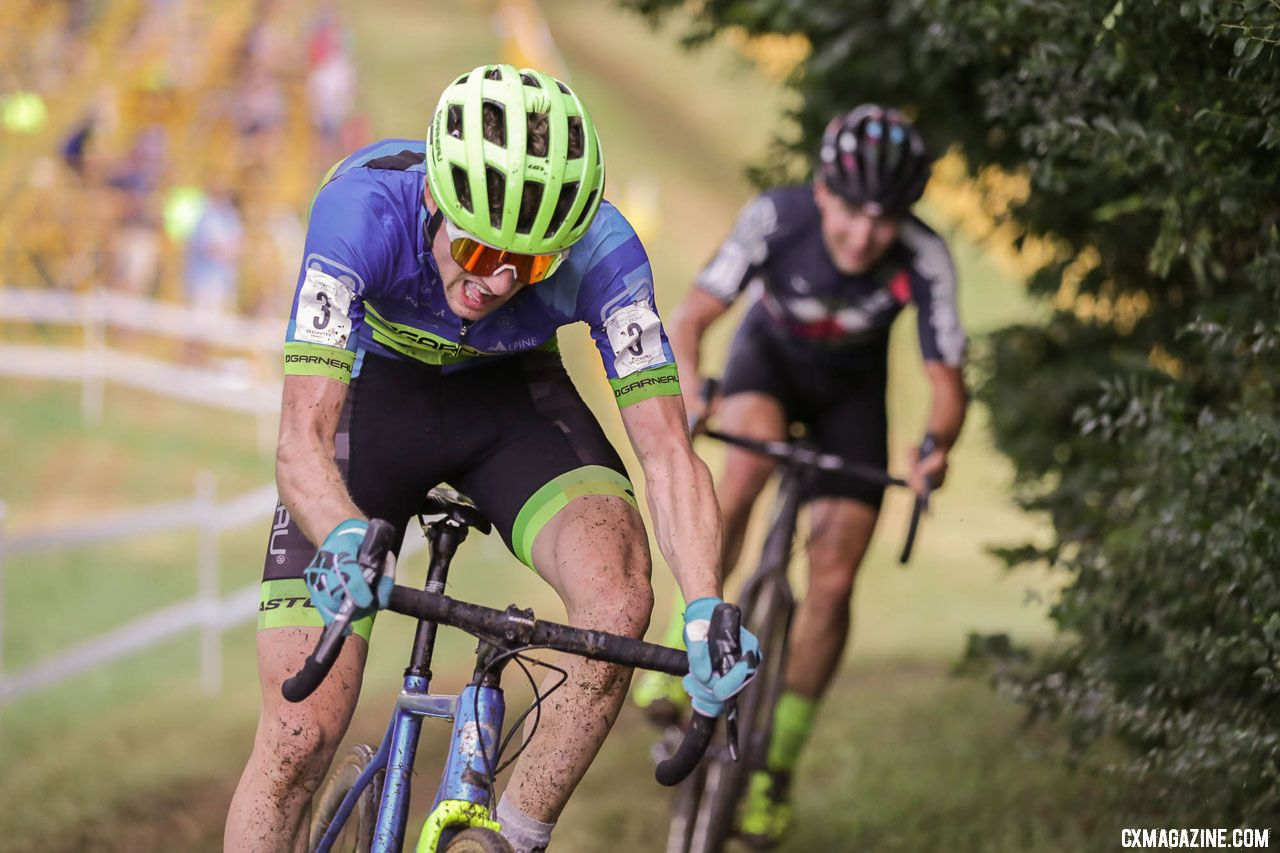 Kisseberth leads Ortenblad at the 2018 Go Cross, Day 1, UCI C2 Cyclocross. photo: Bruce Buckley