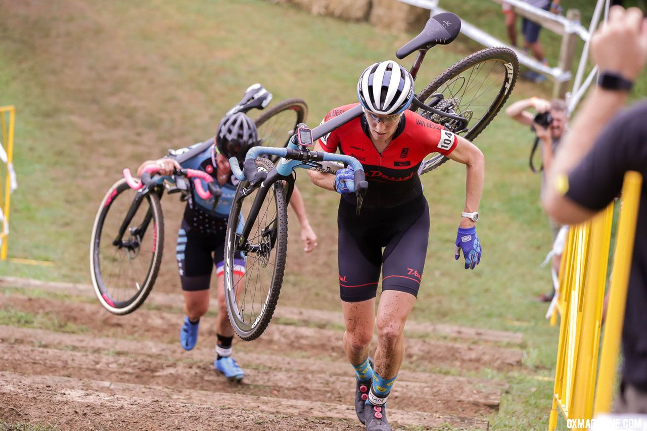 Sunny Gilbert used her running prowess to stay up front. 2018 Go Cross, Day 1, UCI C2 Cyclocross. photo: Bruce Buckley