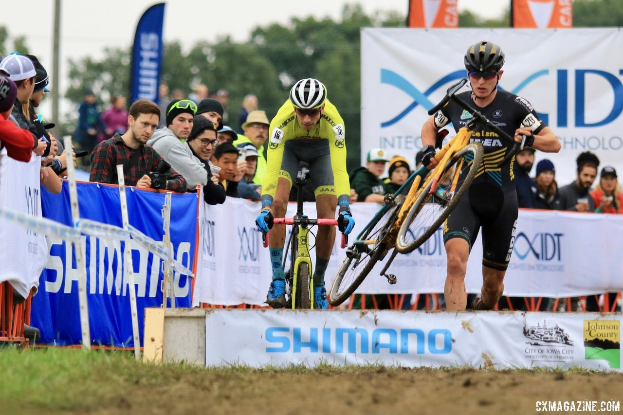 Kerry Werner and Thijs Aerts got off to a fast start in Lap 1. 2018 Jingle Cross Day 3, Sunday. © D. Mable / Cyclocross Magazine