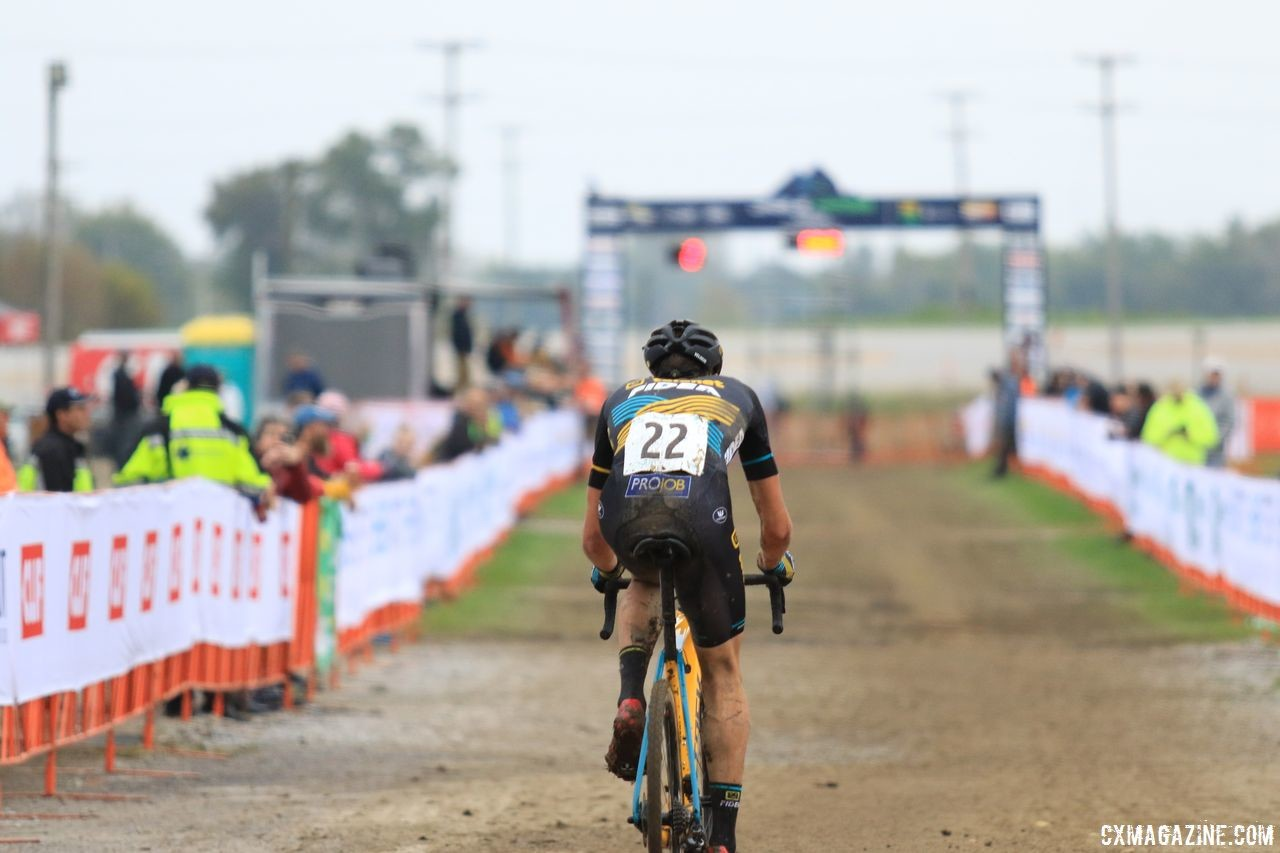 Nicolas Cleppe saw a lot of open space ahead of him on Sunday. 2018 Jingle Cross Day 3, Sunday. © D. Mable / Cyclocross Magazine