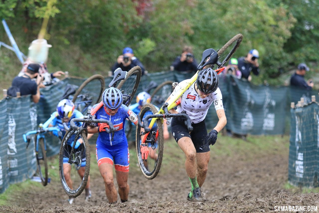 Rochette leads the way up Mt. Krumpit in Lap 2. 2018 Jingle Cross Day 3, Sunday. © D. Mable / Cyclocross Magazine
