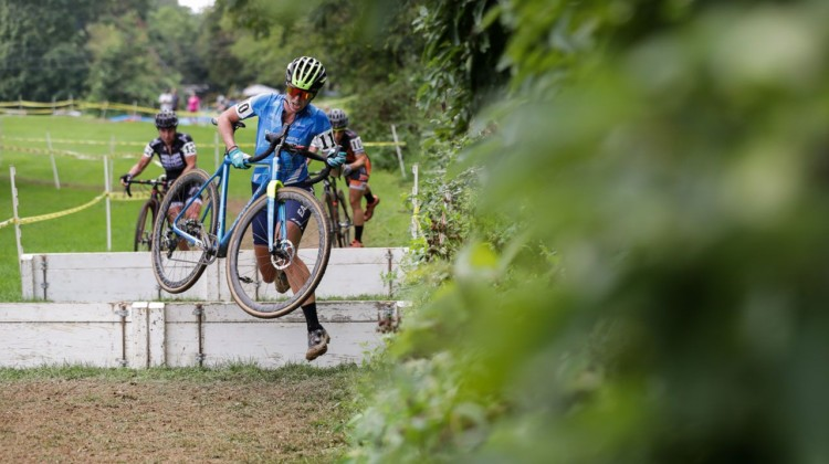 Zaveta attacked the barriers and her fellow leaders. 2018 Nittany Lion Cyclocross Day 1. © Bruce Buckley