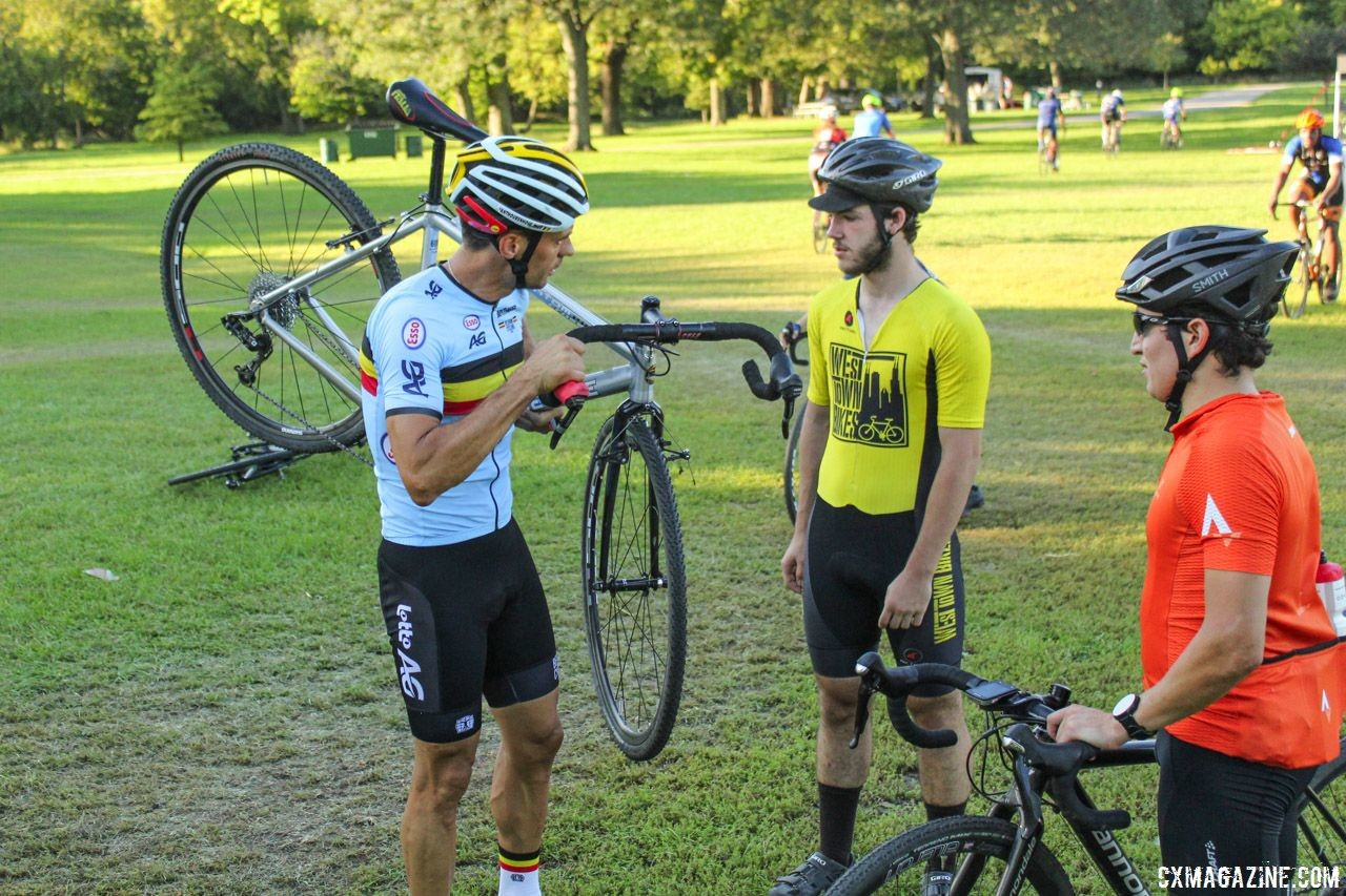 Sven Vanthourenhout took time to work with clinic attendees one-on-one. 2018 Sven-Nado Clinic, Chicago. © Cyclocross Magazine / Z. Schuster