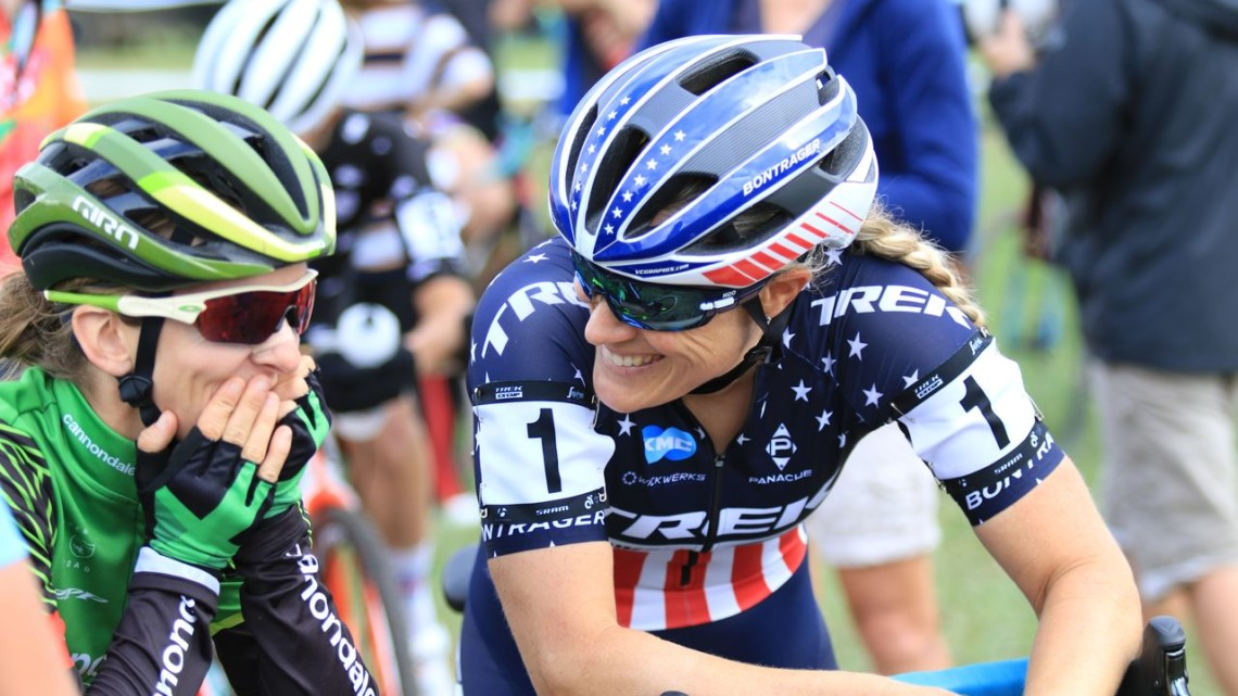 Katie Compton and Kaitie Keough talk before their race. 2018 Trek CX Cup, Waterloo © Cyclocross Magazine / D. Mable