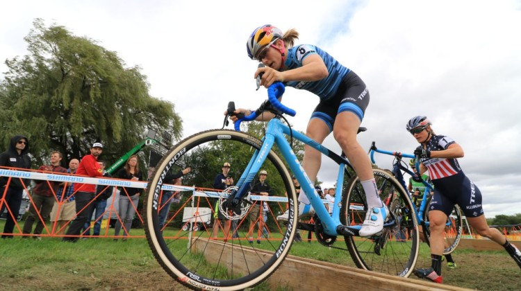 Ellen Noble's bunny hopping was an advantage with an uphill exit from the barriers. 2018 Trek CX Cup, Waterloo © Cyclocross Magazine / D. Mable
