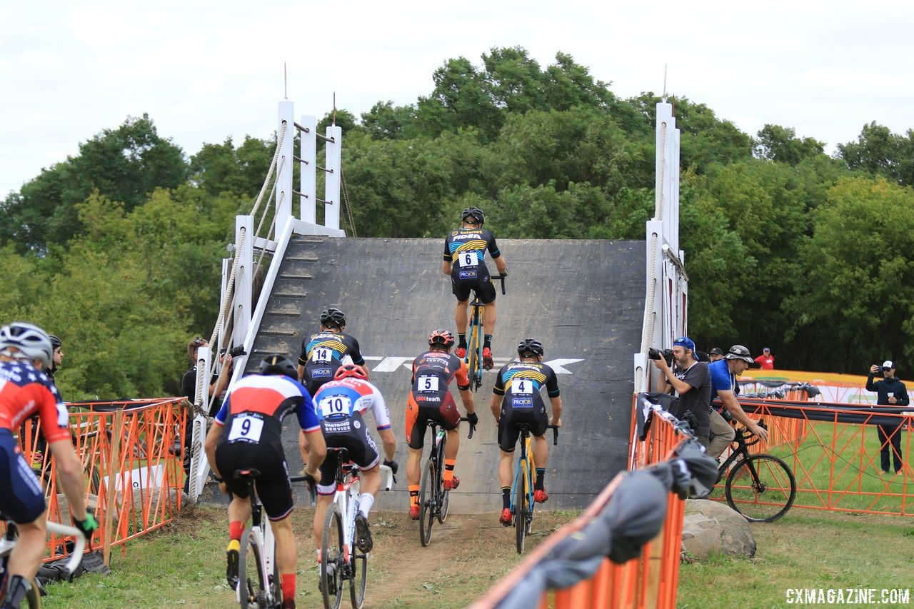 The Barn Flyover was known for its steepness. 2018 Trek CX Cup, Waterloo © Cyclocross Magazine / D. Mable