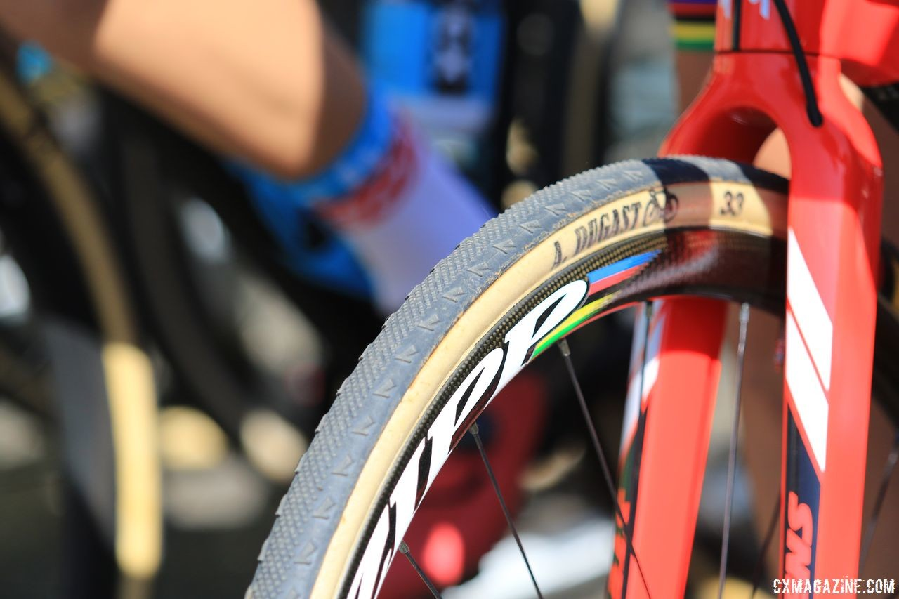 Wout van Aert went with an FMB Pipisquallo file tread on Sunday. 2018 World Cup Waterloo. © D. Mable / Cyclocross Magazine