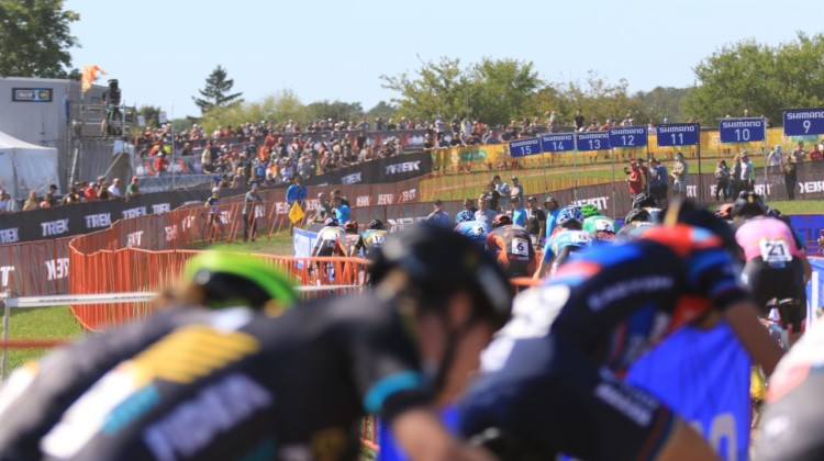 Start of the Men's race. 2018 World Cup Waterloo. © D. Mable / Cyclocross Magazine