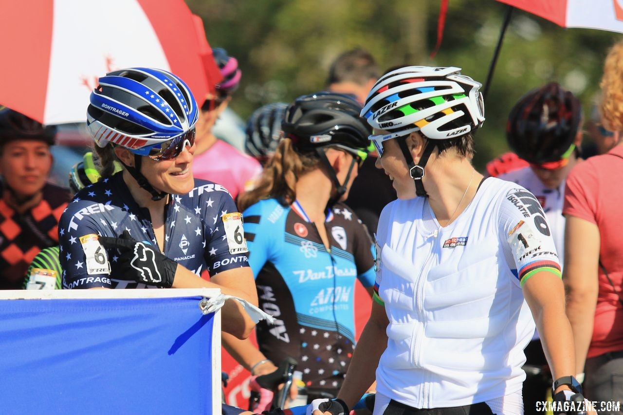 Last year's 1-2 finishers at Worlds chat before the race. 2018 World Cup Waterloo. © D. Mable / Cyclocross Magazine