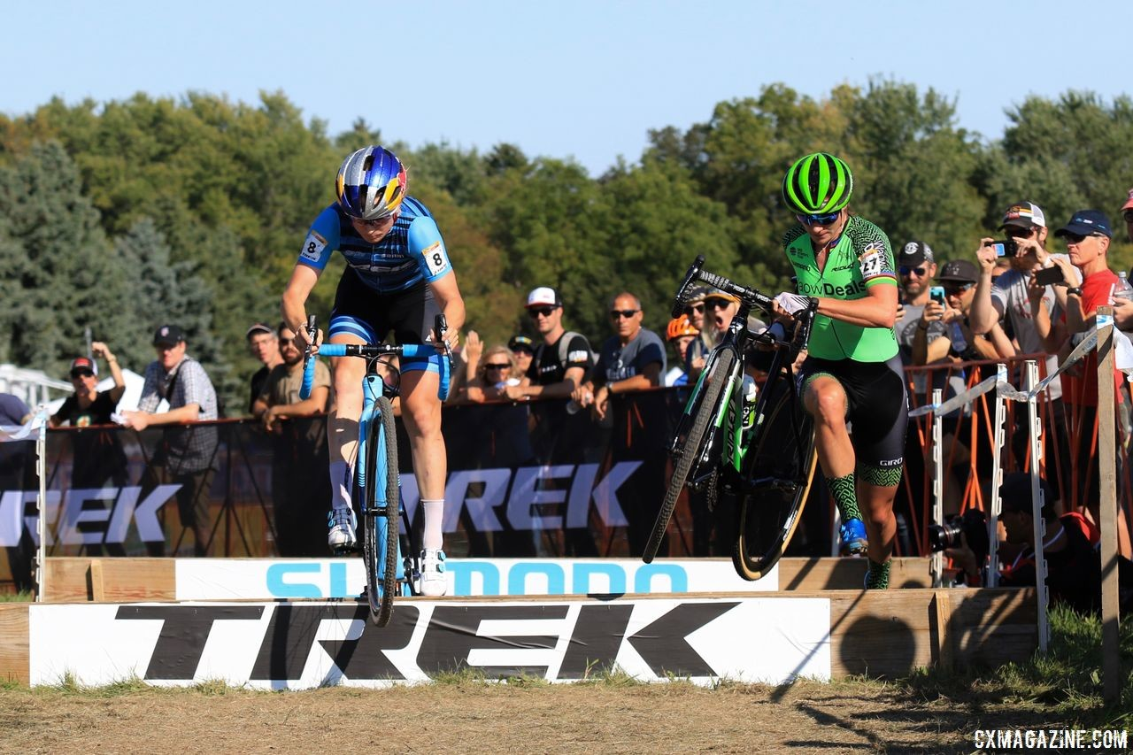 Early in the race, Noble and Vos had different approaches to the barriers. 2018 World Cup Waterloo. © D. Mable / Cyclocross Magazine