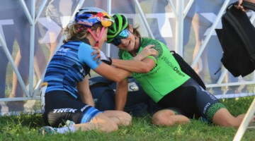 Marianne Vos and Ellen Noble share a moment after their great battle. 2018 World Cup Waterloo. © D. Mable / Cyclocross Magazine