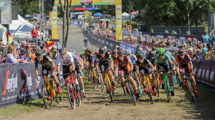 Wout van Aert took the holeshot. 2018 World Cup Waterloo. © R. Clark / Cyclocross Magazine