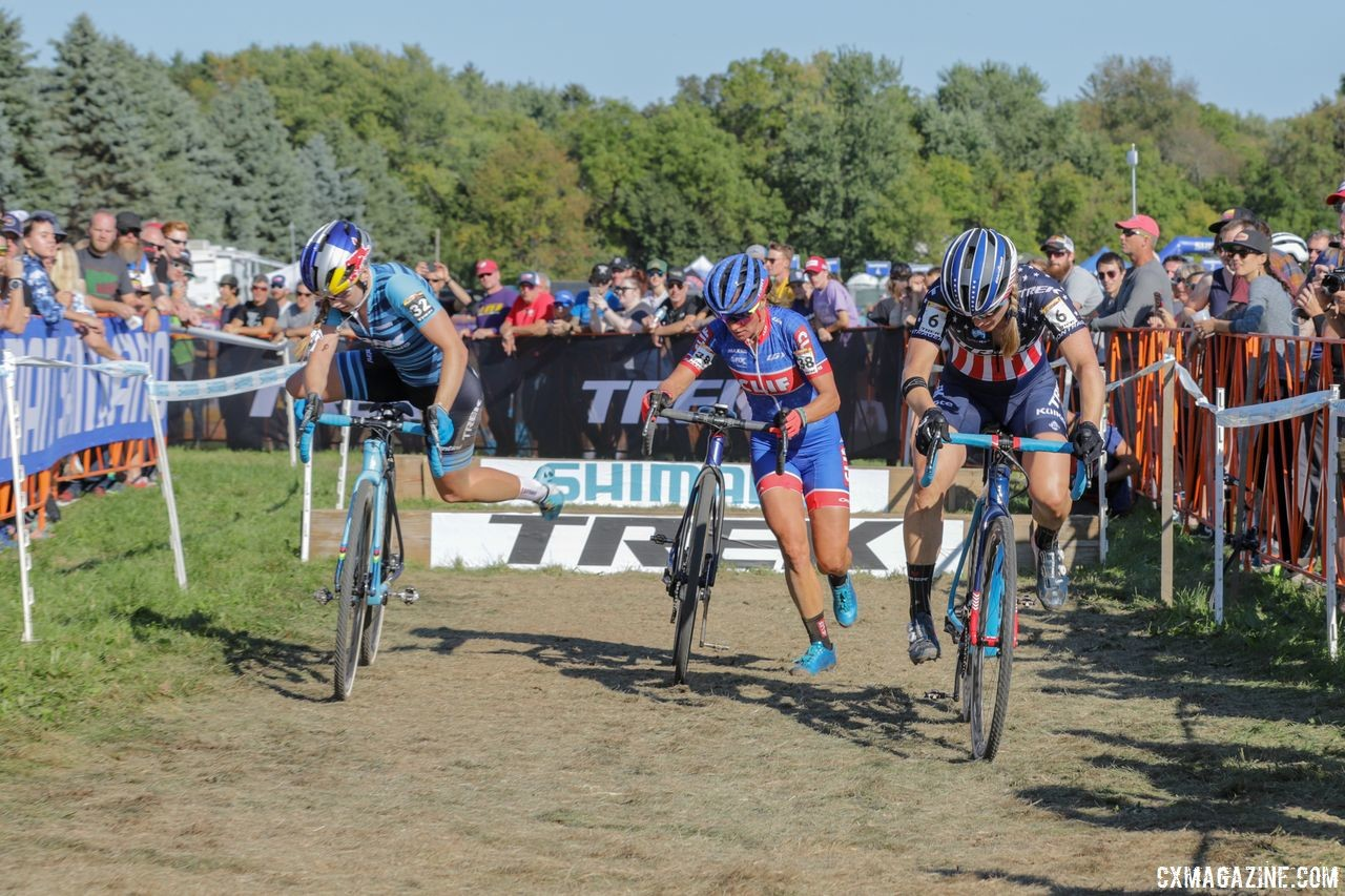 Katie Compton, Katerina Nash and Evie Richards formed a chase midway through the race. 2018 World Cup Waterloo. © R. Clark / Cyclocross Magazine