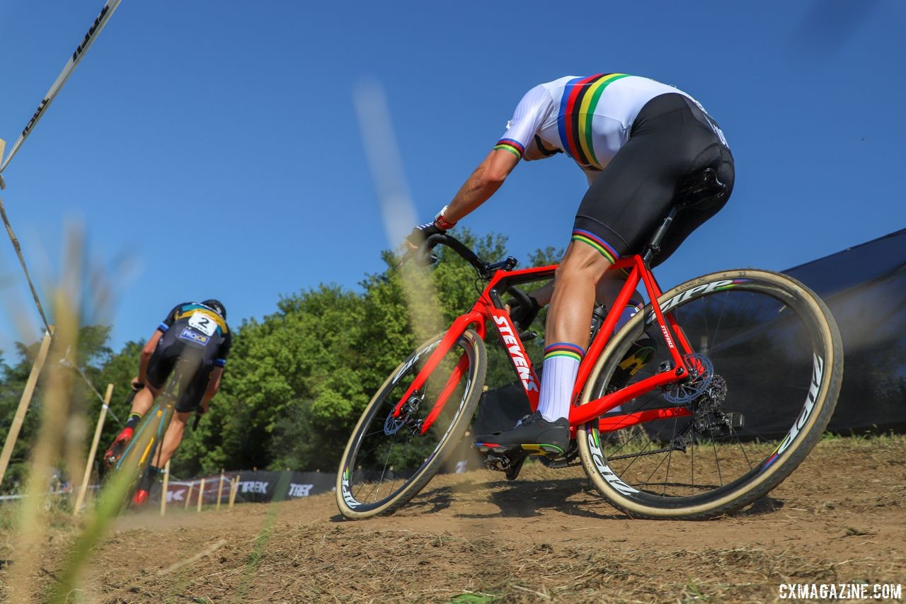 Stevens sent Wout van Aert two bikes so he could race this weekend. 2018 World Cup Waterloo. © R. Clark / Cyclocross Magazine