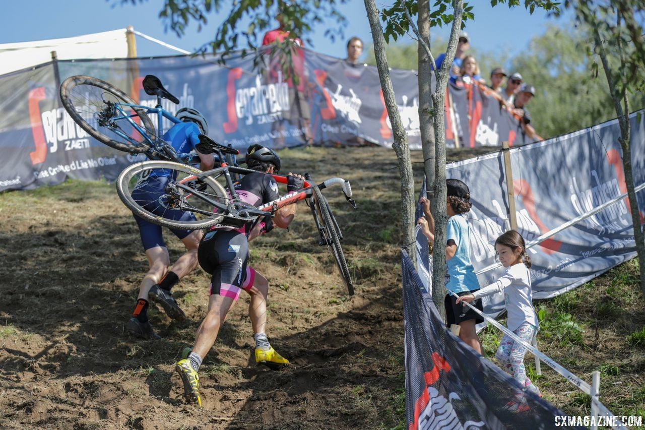 Jack Kisseberth and one of the French riders head up the run-up. 2018 World Cup Waterloo. © R. Clark / Cyclocross Magazine