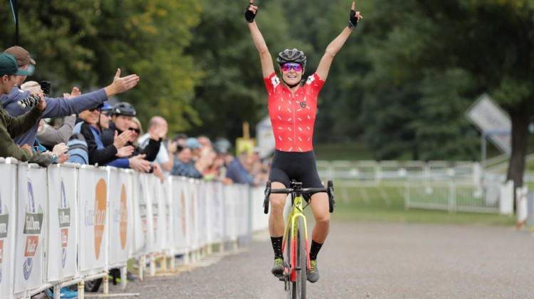 Maghalie Rochette celebrates her win at her first race with her new CX Fever program. 2018 Rochester Cyclocross Day 1. © Bruce Buckley