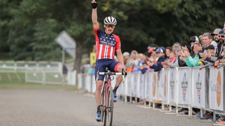 Stephen Hyde celebrates his win. 2018 Rochester Cyclocross Day 1. © Bruce Buckley