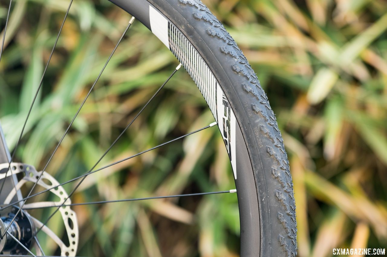 Our 38mm Bontrager CX0 tire measured in at 39mm wide when installed on the rim. FSA NS Alloy Wheelset. © Cyclocross Magazine / C. Lee