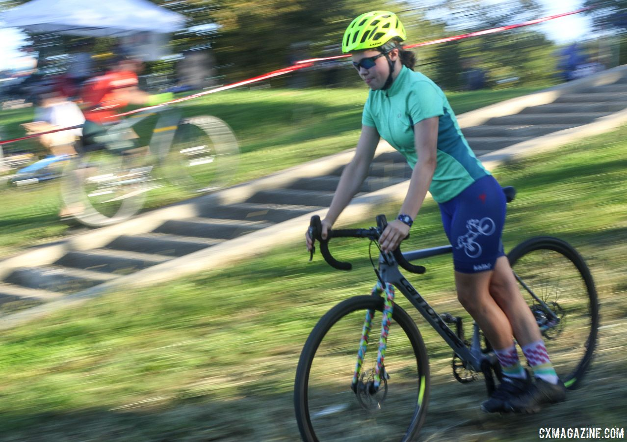 Riders worked on bike handling while clipped in on one side. 2018 Sven-Nado Clinic, Chicago. © Cyclocross Magazine / Z. Schuster