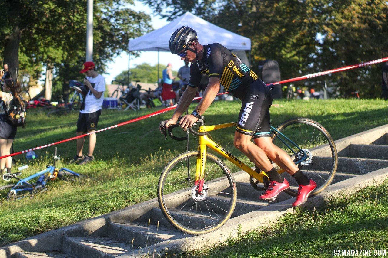 This year, Sven Nys tried to coast down the concrete, not go up. 2018 Sven-Nado Clinic, Chicago. © Cyclocross Magazine / Z. Schuster