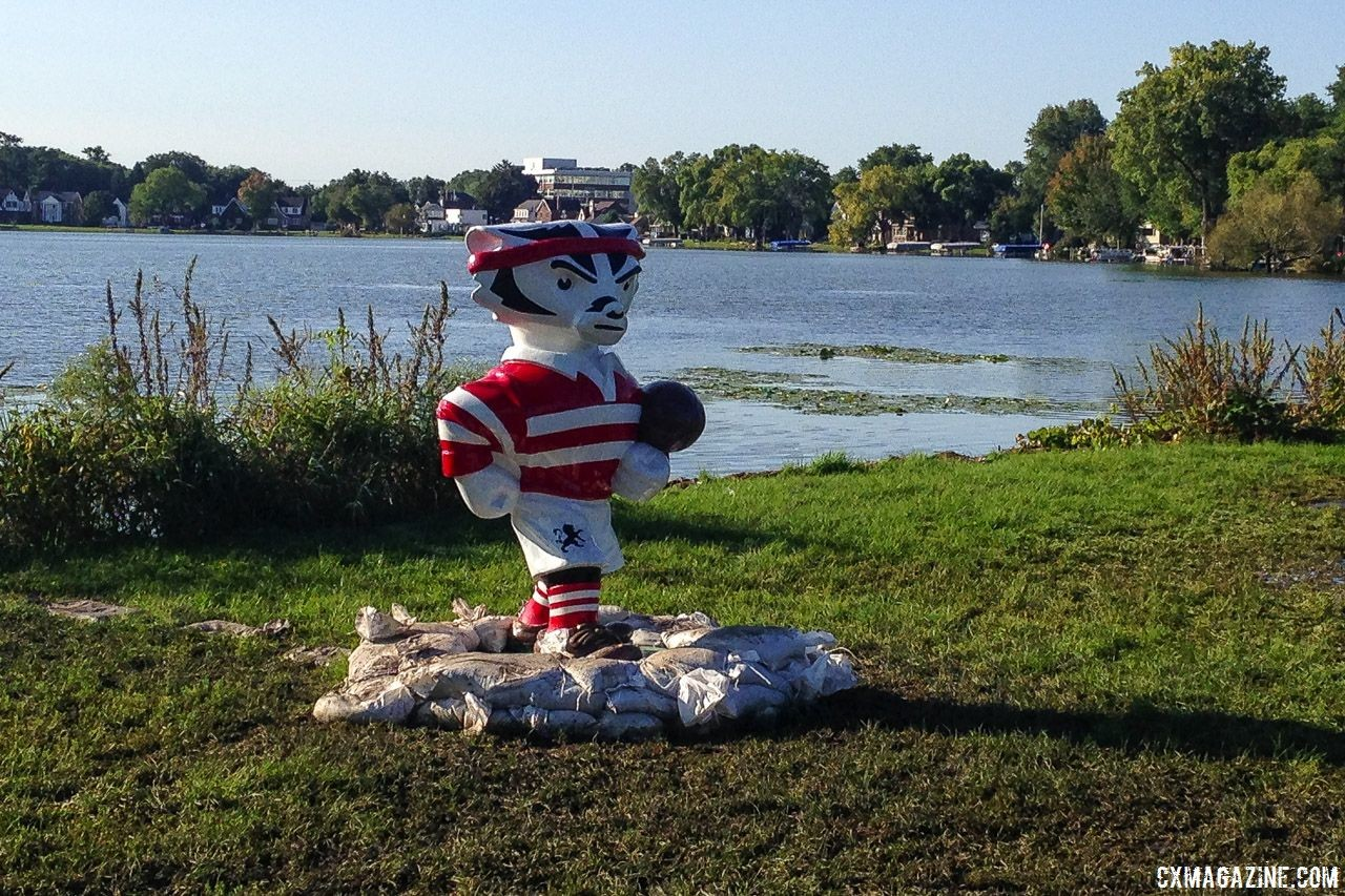 The flooding in Madison is so bad, even Bucky Badger had to be sandbagged. 2018 World Cup Waterloo Course Preview © Z. Schuster / Cyclocross Magazine