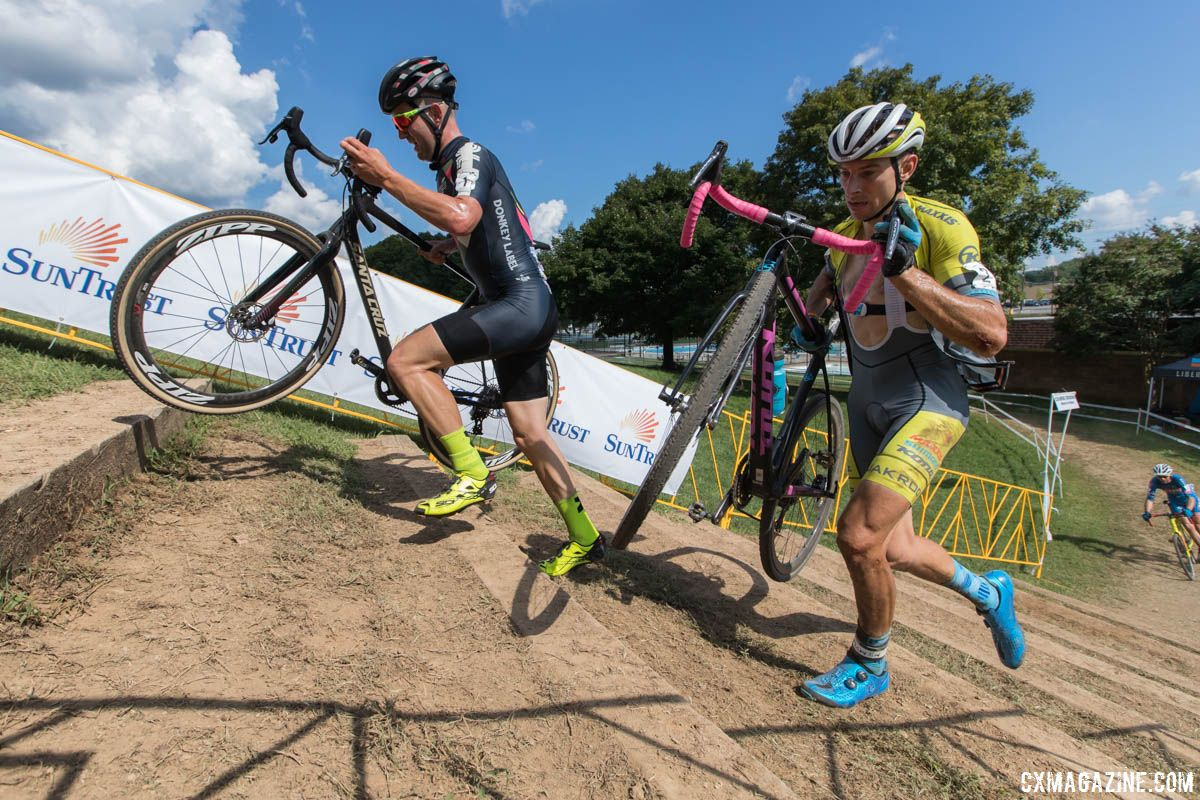 Ortenblad and Werner sprint up the stairs. 2018 GO Cross Day 2. © Bruce Buckley