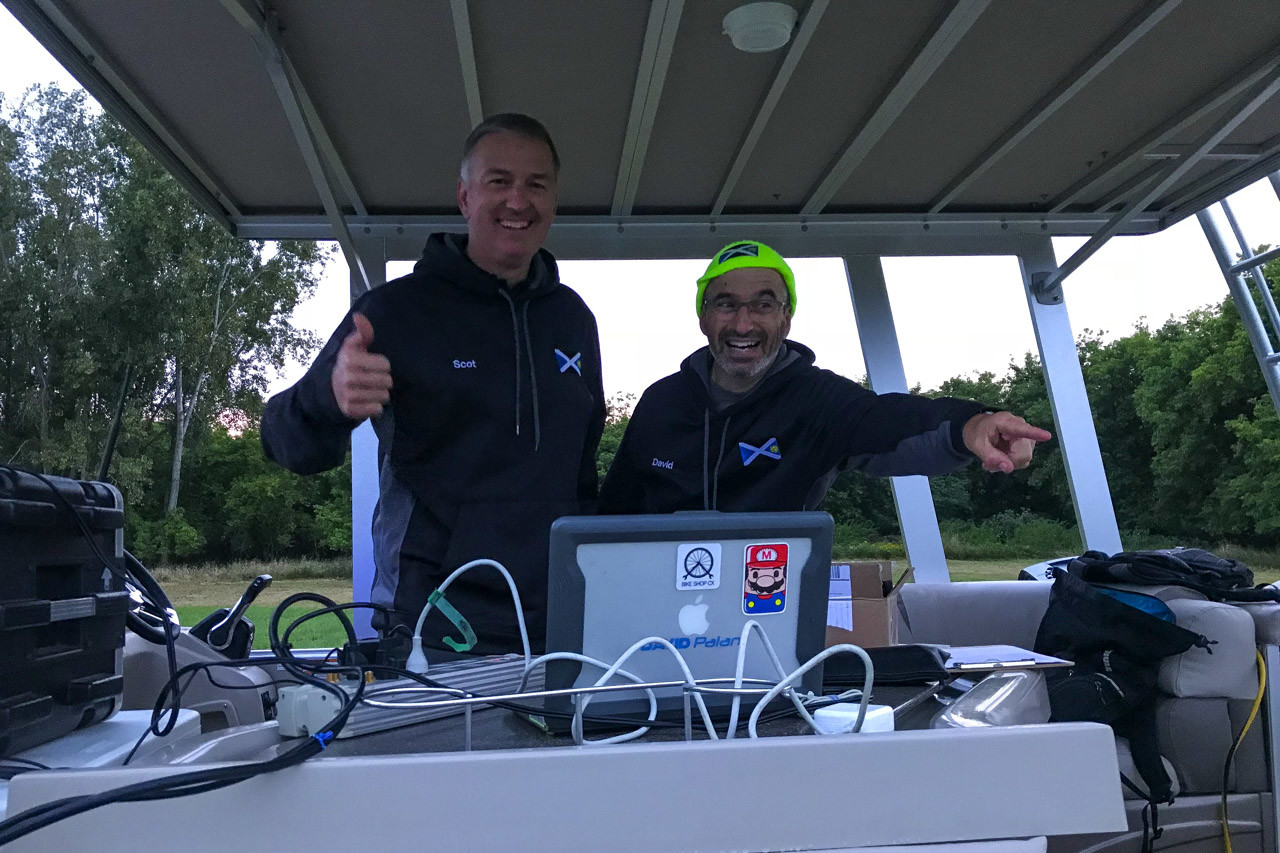 Scott Hermann and David Palan served as race announcers. 2018 Alma GP in Michigan. photo: Brian Hancock